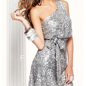 Faviana Silver One Shoulder Cocktail